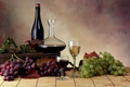 Картинка бутылки, вино, виноград, бокалы, листья