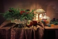 Картинка яблоки, ель, фонарь, натюрморт, шишки, мармелад