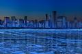 Картинка Зима, лед, небоскребы, синий, панорама