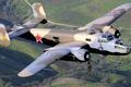 Картинка полет, ретро, самолет, ландшафт, B-25 Mitchel