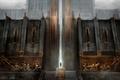 Картинка Dragon Age 2, лестница, ворота, дверь, киркволл, город, человек, крепость, дымка