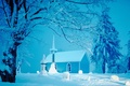 Картинка ёлки, домик, снег, церковь, зима