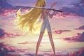 Картинка небо, девушка, облака, закат, оружие, катана, аниме, лепестки, арт, bakemonogatari, oshino shinobu, истории монстров, maredoro