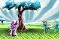 Картинка небо, трава, деревья, арт, пони, My Little Pony, Rainbow Dash, Twilight Sparkle, Trixie, Sharpieboss