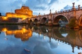 Картинка огни, замок Святого Ангела, мост, Италия, Рим, Тибр, река