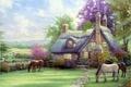 Картинка природа, дом, кони, house, живопись, Томас Кинкейд, painting, horse, Thomas Kinkade, A Perfect Summer Day