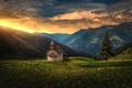 Картинка Альпы, ель, Италия, горы, панорама, часовня, дерево, Южный Тироль, Alps, South Tyrol, Italy, закат